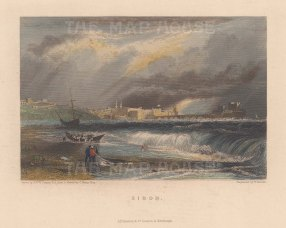 "Fullarton: Sidon. c1856. A hand coloured original antique steel engraving. 5"" x 4"". [MEASTp1288]"