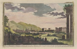 "Hogg: Baalbec. 1777. A hand coloured original antique copper engraving. 12"" x 7"". [MEASTp1316]"