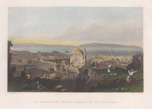 "Bartlett: Akko (St Jean D'Acre). 1838. A hand coloured original antique steel engraving. 9"" x 7"". [MEASTp1349]"
