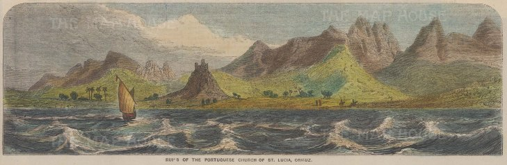 View of the ruins of the Portuguese Church of St. Lucia.