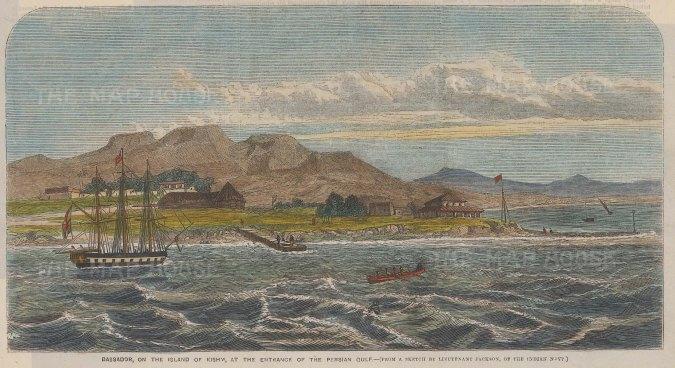 "Illustrated Times: Bassadore, Qeshm Island, Iran. 1856. A hand coloured original antique wood engraving. 9"" x 5"". [MEASTp1380]"