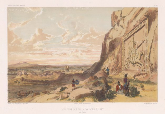 Iran: View from the Cheshmeh Ali hill with the 1831 rock carving of Fath-Ali Shah Qajar. After the 'on the spot' drawing by Jules Laurens.