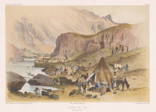 Caravan resting on the outskirts. After the 'on the spot' drawing by Jules Laurens.