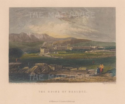 "Fullarton: Baalbec. c1856. A hand coloured original antique steel engraving. 5"" x 4"". [MEASTp1448]"