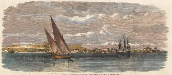 Bassadore, Keuta Bolan Pass, Persian Gulf. Panorama of the British Station with yachts and tall ships in the harbour.