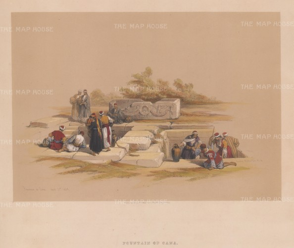 "Roberts: Cana. 1839. A hand coloured original antique lithograph. 15"" x 13"". [MEASTp1531]"
