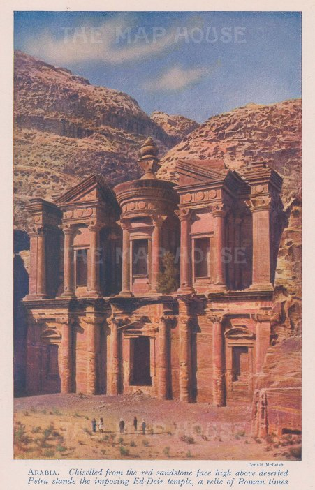 "McLeish: Petra. c1940. An original vintage chromolithograph. 5"" x 8"". [MEASTp1543]"