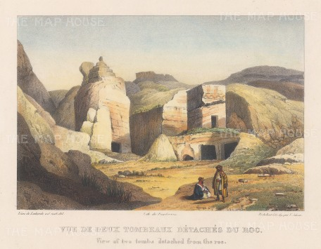 "Laborde: Petra. 1839. A hand coloured original antique lithograph. 14"" x 9"". [MEASTp1553]"