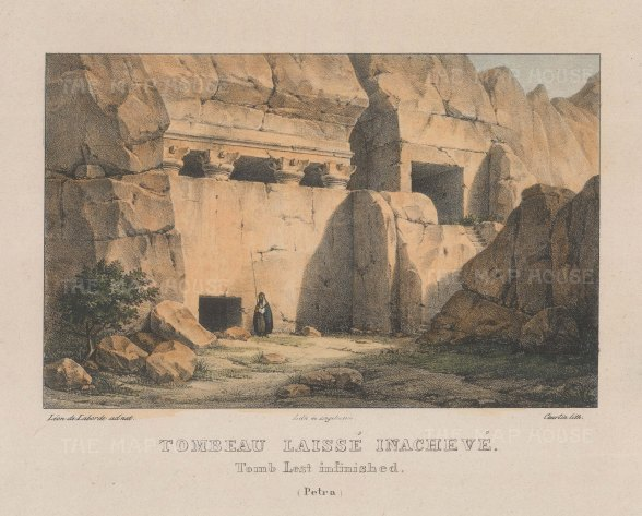 "Laborde: Petra. 1839. A hand coloured original antique lithograph. 10"" x 8"". [MEASTp1587]"