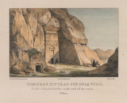 "Laborde: Petra. 1839. A hand coloured original antique lithograph. 10"" x 8"". [MEASTp1588]"