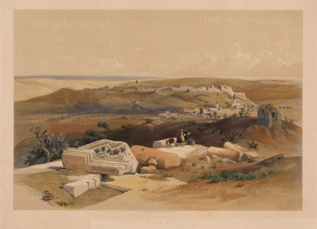 Gaza: Panoramic view approaching by Beit-Gebrin.With the Egyptian Light Dragoons and Lancers marching to Sidon (Sayda).