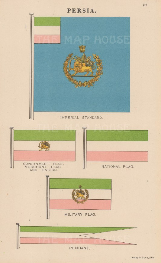 Imperial standard and National, Ensign and Merchant flags.