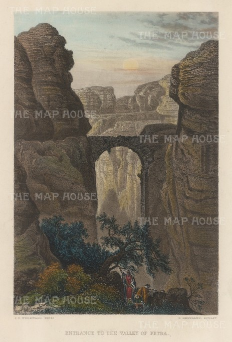"Virtue: Petra. c1840. A hand coloured original antique steel engraving. 6"" x 8"". [MEASTp1637]"