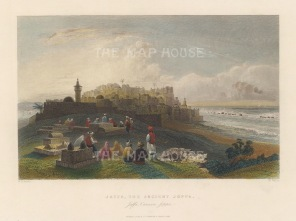 "Bartlett: Tel Aviv (Jaffa). 1838. A hand coloured original antique steel engraving. 9"" x 7"". [MEASTp1659]"