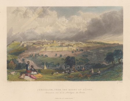 "Bartlett: Jerusalem. 1838. A hand coloured original antique steel engraving. 9"" x 7"". [MEASTp1667]"