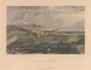 "Fullarton: Tel Aviv (Jaffa). 1856. A hand coloured original antique steel engraving. 5"" x 4"". [MEASTp1669]"