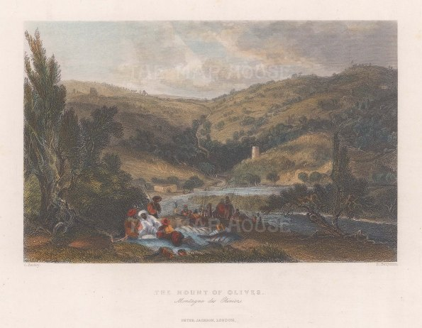 "Bartlett: Mount of Olives. 1838. A hand coloured original antique steel engraving. 9"" x 7"". MEASTp1672]"