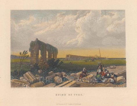 "Finden: Tyre. 1856. A hand coloured original antique steel engraving. 5"" x 3"". [MEASTp1676]"