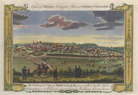 "Millar: Jerusalem. 1782. A hand coloured original antique copper engraving. 12"" x 8"". [MEASTp1687]"