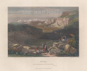 "Fullarton: Petra. 1856. A hand coloured original antique steel engraving. 5"" x 4"". [MEASTp1710]"