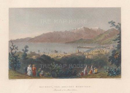 "Bartlett: Beirut. 1838. A hand coloured original antique steel engraving. 9"" x 7"". [MEASTp1711]"