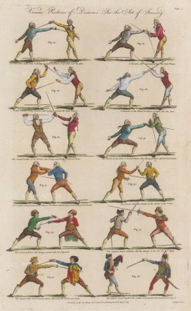 Disarm positions. Volte, tierce, thrust carte, defensive and Spanish guard. Twelve examples.