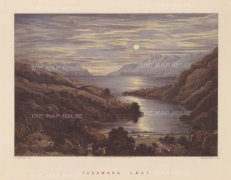 Moonlit view over the lake before the eruption of Mount Tarawera.