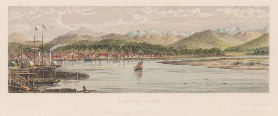 "Barraud: Hokitika River. 1877. An original antique chromolithograph. 11"" x 4"". [NWZp187]"