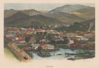 "Picturesque Australia: Nelson. c1880. A hand coloured original antique wood engraving. 8"" x 6"". [NWZp234]"