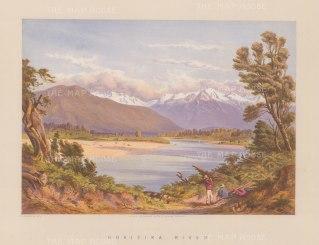 "Barraud: Hokitika River 1877. An original antique chromolithograph. 17"" x 12"". [NWZp253]"