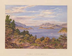 View from the environs towards Port Charlmers, Kamau Tauru, Goat Island and the Otago Peninsula.