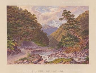 Otira Gorge, West Coast Road: View over the Otira River into the gorge.