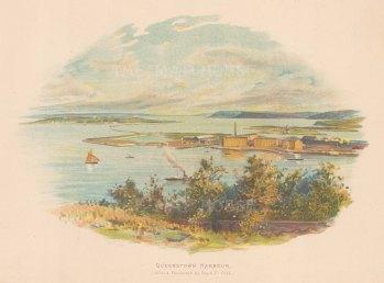 "Guy & Co.: Queenstown Harbour. c1890. An original antique chromolithograph. 8"" x 7"". [NWZp263]"