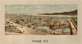 Panoramic view over the city towards the harbour. Wakefield's New Zealand Land Company established numerous settlements that became principal towns.