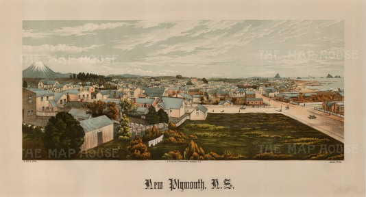 Panoramic view with Mount Taranaki in the distance. Wakefield's New Zealand Land Company established numerous settlements that became principal towns.