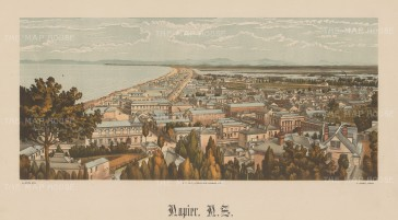 Panoramic view along the coast. Wakefield's New Zealand Land Company established numerous settlements that became principal towns.