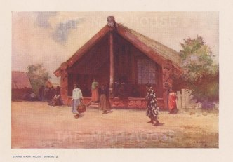 View of a Maori house. After W Wright.