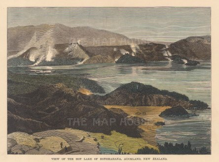 View of the lake after the eruption of Mount Tarawera.