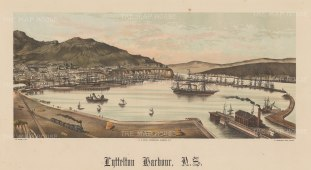 Panoramic view of the harbour and railway. Wakefield's New Zealand Land Company established numerous settlements that became principal towns.