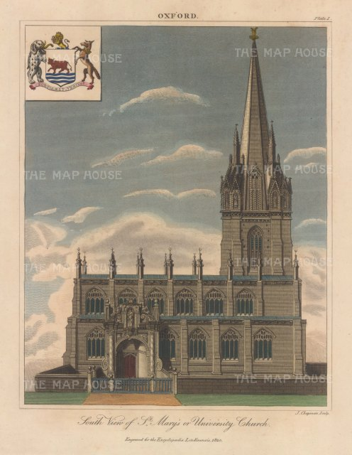 St Mary's or University Church: View of the front elevation with arms. Engraved by John Chapman.