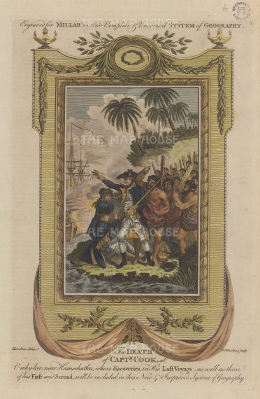 "Millar: The Death of Capt. Cook. 1782. A hand coloured original antique copper engraving. 8"" x 12"". [PLYp266]"
