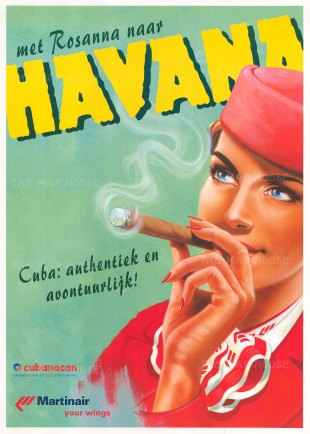 'Met Rosanna naar Havana'. Promotional poster for Martinair and group Cubanacan. By Sylvan Steenbrink.