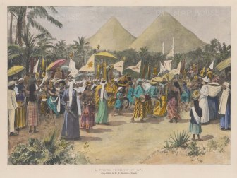 "Illustrated London News: Wedding procession, Java. 1896. A hand coloured original antique photo-lithograph. 13"" x 10"". [SEASp1017]"