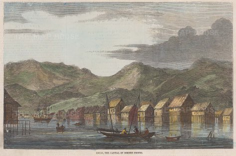 "Illustrated London News: Bandar Seri Begawan, Brunei. 1857. A hand coloured original antique wood engraving. 8"" x 6"". [SEASp1030]"