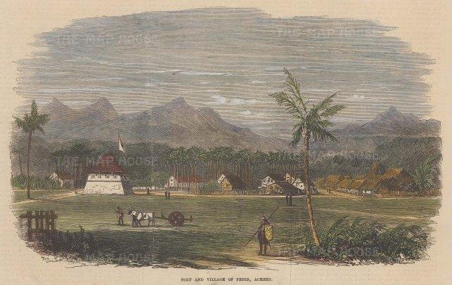 Sumatra: Aceh. Fort and village of Pedir.