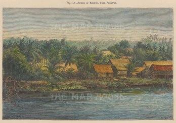 "Brown: Sarawak, Borneo. 1855. A hand coloured original antique wood engraving. 8"" x 6"". [SEASp1096]"