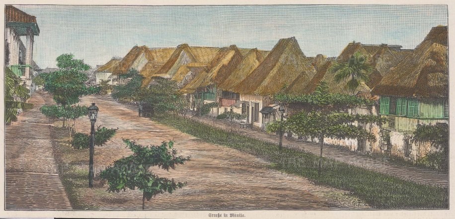 Street scene showing traditional houses.