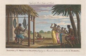 Scene in the Spice Islands of natives playing the Rabana and dancing.