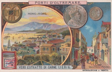 Aerial View of Hong Kong, with an inset of street scene and coins.