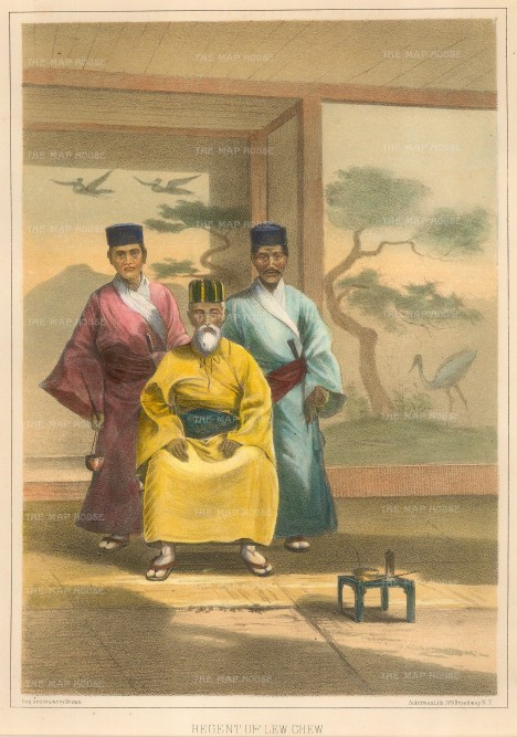 "Perry: Regent of Lew Chew (Okinawa). 1856. A hand coloured original antique lithograph. 9"" x 6"". [SEASp1222]"